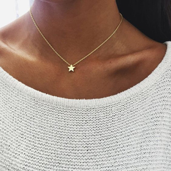 Tiny Star Pendant Necklace for Women Short Chain Moon Pendant Necklace Gift Bohemian Choker Necklace Jewelry Cheap DHL FREE