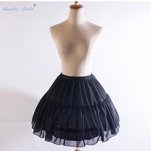 vente en gros 2018 des femmes des années 50 Lolita jupe en mousseline de soie douce 2 cerceaux court jupon crinoline au-dessus du genou Vintage