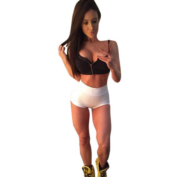 Hot Sales Yoga Shorts Sexy Women Sports Shorts Gym Workout Waistband Skinny Yoga Short Elastic Solid Sport Leggings #169917