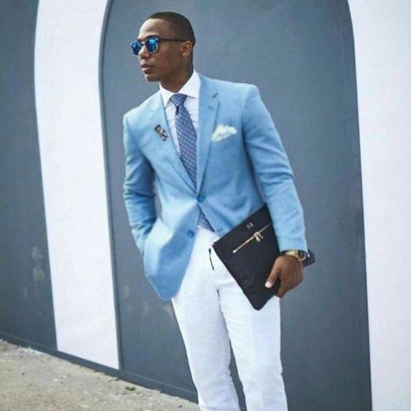 Trajes de hombre azul para boda Prom Hombre Blazers Padrino de boda Esmoquin Últimos pantalones de abrigo Diseño 2 piezas delgado traje Homme Terno masculino