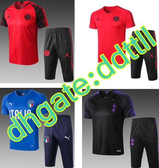 Wholesale 5 PSC Free DHL 2019 Barcelona Short sleeve tracksuits 19 20 short sleeves jersey italy Messi FC Tshirt training suit PSG shirt