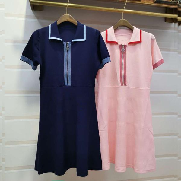 ClearanceFrance S System Spelling Colour Polo Collar Zipper High Waist Slim Temperament Knitting Dress 2019 Summer