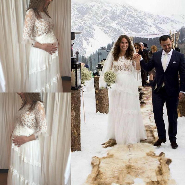 Cheap A Line Beach Pregnant Woman Wedding Dresses Jewel Neck Half Sleeve Lace Appliques Country Bridal Gown Sweep Train Tulle Wedding Gowns
