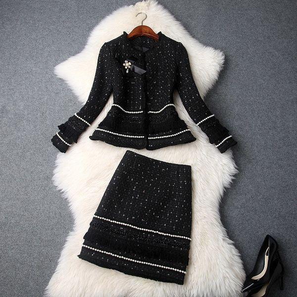 Moda Inverno Mulher New frisada Bow jaqueta grossa Tweed borlas Mini saia Suits Senhora do escritório Dois conjuntos de peças