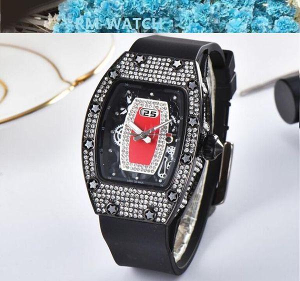Top Brand Горячие дамы высокого качества платье часы циферблат декор Rhinestone кварцевые часы алмаз женские часы каучуковый ремешок женщин Кварцевые часы