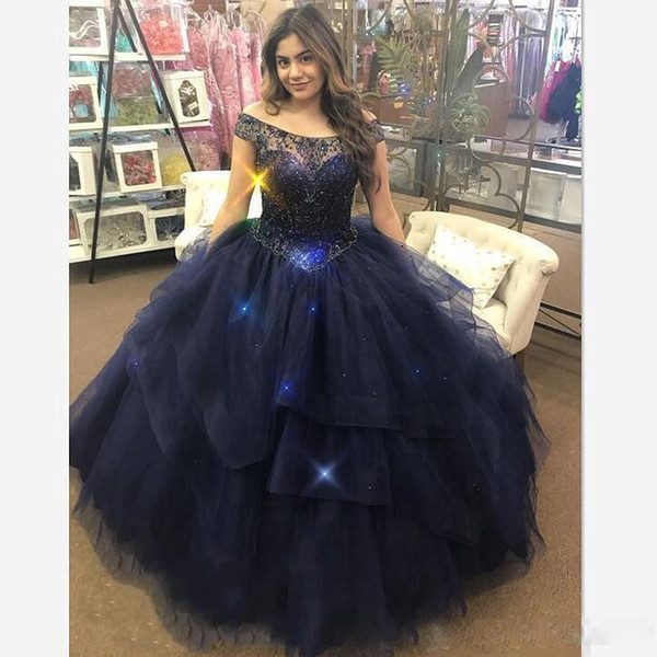 Shiny Dark Navy Blue Ball Gown Quinceanera Dresses Scoop Neck Appliques Sequin Bead Tiered Prom Dress Sweep Train Tulle Pageant Gowns