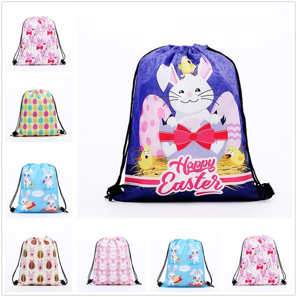 Hot Cute Rabbit Pattern Polyester Storage Bag Bundle Pocket With String Pretty Gift Decor Free Shipping