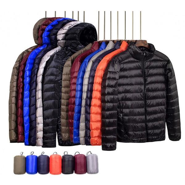 Nueva Marca Otoño Invierno Luz por la chaqueta con capucha de los hombres de moda corto abrigo de gran tamaño compacto y ligero para jóvenes ultra-delgada chaquetas
