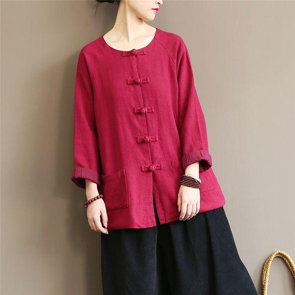 Frauen Rote Jacken Baumwolle Leinen Vintage Mäntel Taste Oansatz Langarm Herbst Frauen Jacken Neue Lose Mäntel