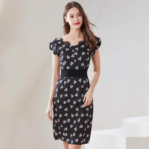 Verão das mulheres novas mid-length dress moda elegante impressão com decote em v de manga curta lace costura saia condole cinto slim fit floral dress s-xl