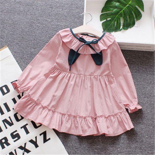 BibiCola 2018 bebê meninas vestidos bebe bebe chinês breve estilo vestido de algodão puro crianças mangas compridas roupas de moda primavera