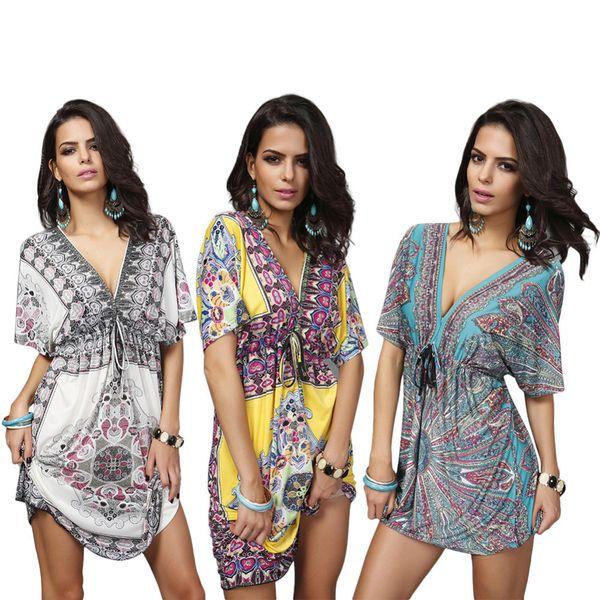 943cfb83023 XXL Women Swimsuit Cover Ups Sexy Kaftan Beach Tunic Dress 2019 Summer Robe  De Plage Printed