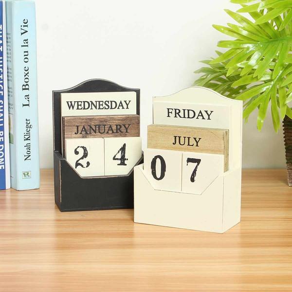 best selling Wooden Calendar Desktop Calendar Vintage Perpetual Wood Calendar Block Office Home Decor Reusable Table Diy Planner Retro Rustic Y19062803