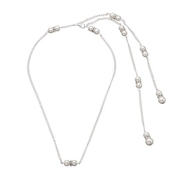 Backdrop Necklace Water Dorp Glass Crystal Pendant Pearl Back Chain Bride Wedding Jewelry Backless Dress Long Necklace