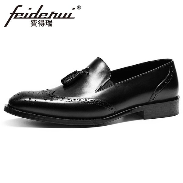 British Style Genuine Leather Men's Wingtip Loafers Pointed Toe Man Slip on Loafers Formal Dress Handmade Brogue Shoes FHS116