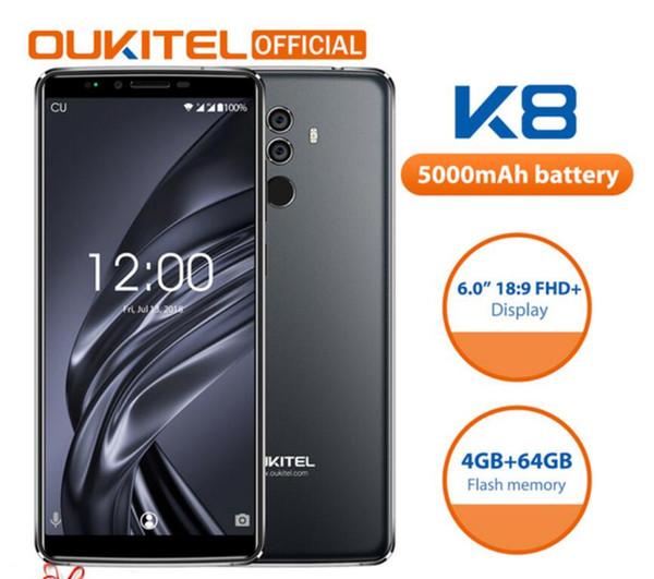 Oukitel K8 18:9 Full Display 6.0''FHD 4GB RAM 64GB ROM MT6750T Octa Core 13MP+5MP Fingerprint Face ID 5000mAh 5V/2A Mobile Phone