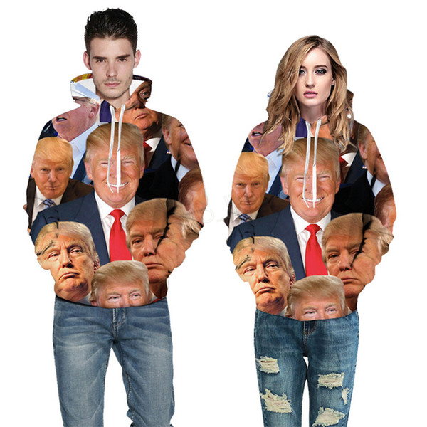 Donald Trump imprimer Sweat à capuche pull hommes femmes impression 3D Automne Hiver Homme Femme manteau outwear sweat LJJA2984