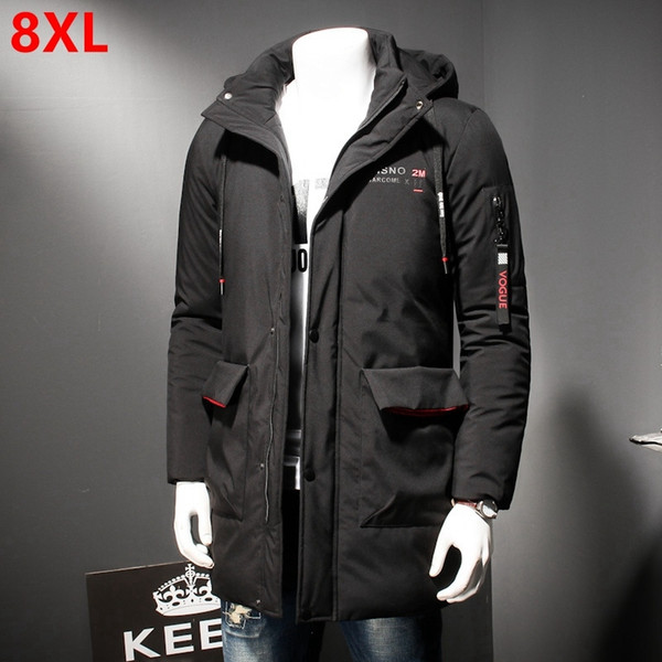 Autumn and winter fashion men plus fertilizer XL cotton warm youth handsome casual hooded cotton suit 8XL 7XL 6XL 5XL