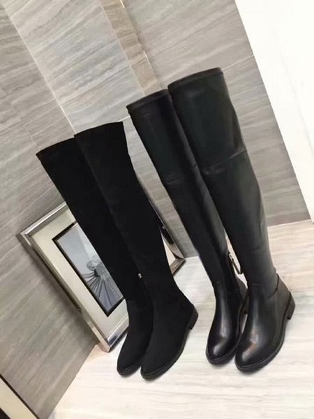 Thigh-High Boots Classic Elastic Boots Heel Women S Autumn And Winter New Leather Slim Shoes With Legs High Long Boots Girls