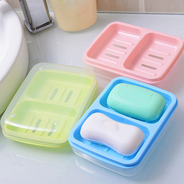 Portable Double Soap Dishes Drain Soapbox With Cover Soap Dish Box Soap Holder Bathroom Accessories