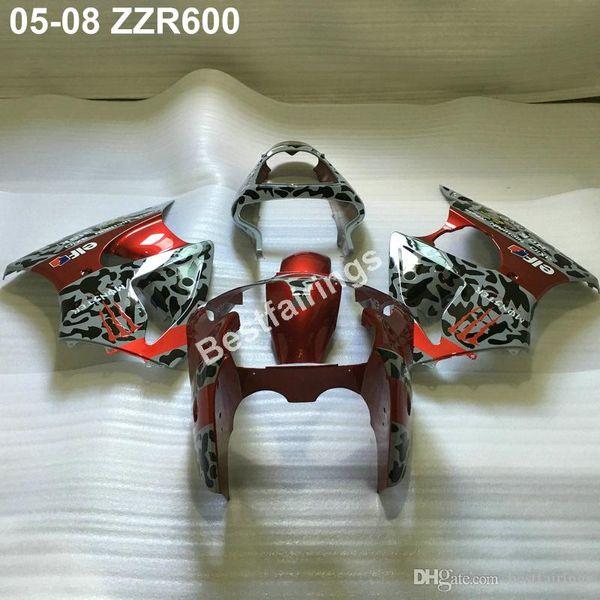 Injection molding fairing kit for Kawasaki ZZR600 05 06 07 08 silver red black fairings set ZZR 600 2005-2008 ZV04