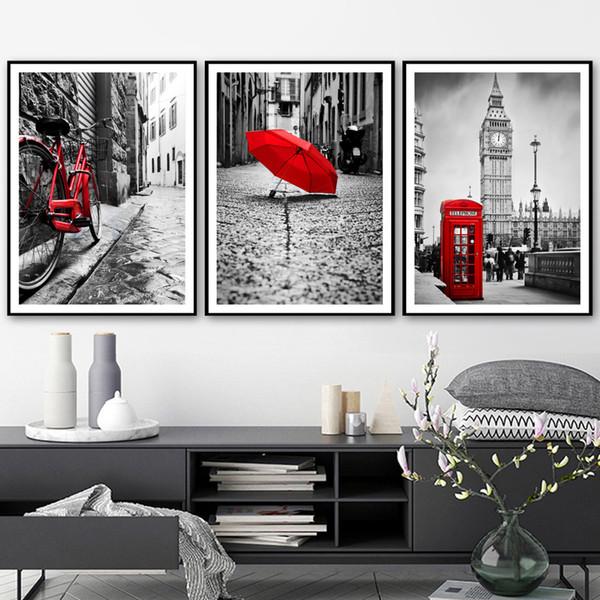 Acheter Set Moderne Peinture Murale Mur De Toile Noir Blanc Rouge Rouge Vélo Parapluie London Paysage Affiches Mur Photo Pour Le Salon De 13 62 Du