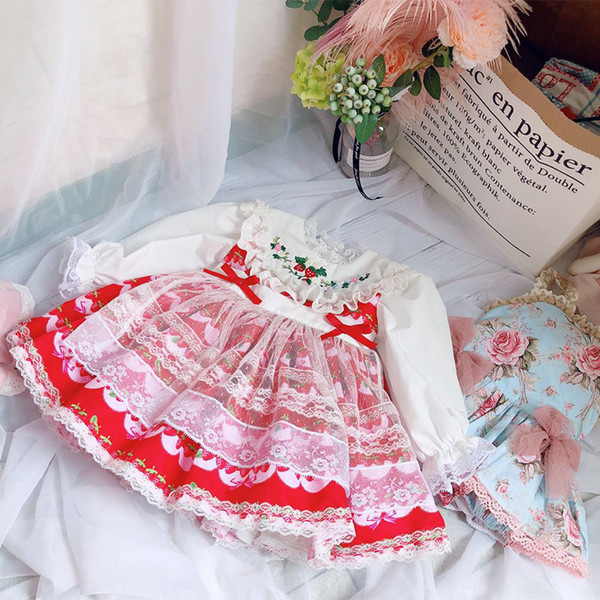 girl kids designer clothes dress antique spain style embroidery flower and strawberry longsleeve pleated dress spring fall princess dresses