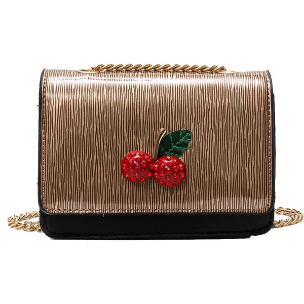 2019 New Women Chain Shoulder Bag Cherry Designer Crossbody Bag Famous Bling Women Bags Female Pu Leather Messenger Bag 980