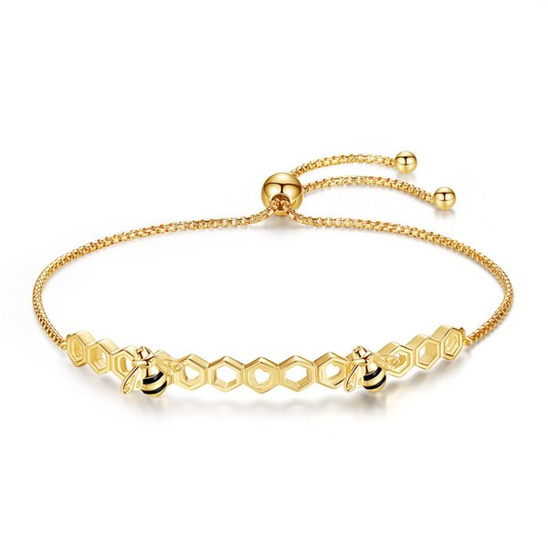 Clássico Honey Bee prata esterlina 925 pulseiras coloridas Coração Luxo Jóias Amor Honey Comb Golden Bee para as Mulheres Homens Bracelet