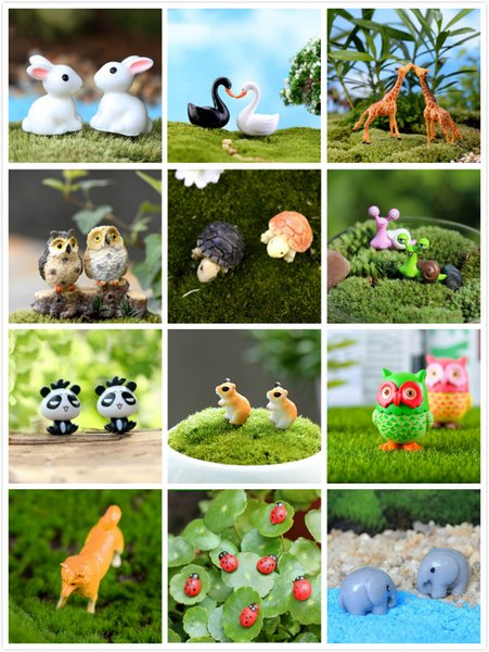 1/2 / 10pcs Animaux Figurines Coccinelle Snail Hibou tortue Chiens Artisanat Résine Dollhouse Bonsai Décor Terrarium Décoration