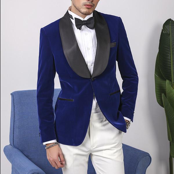 Royal Blue Wedding Suits for Men Slim Fit Groom Wear Tuxedo Black Shawl Lapel Groomsman Suits 2Piece Man Blazer Costume Homme