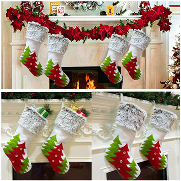 Christmas Decorative Stocking Xmas tree pattern Socks Bag Xmas tree Decor Hanging Socks Children's Christmas Candy gift bag T9I00182