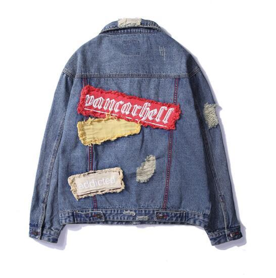 Europe and the United States original coat denim clothing new men's jacket cardigan loose high street patch decoration