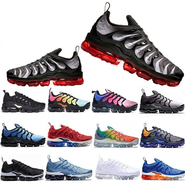 Cheaper New TN Plus Running Shoes Men Women Game Royal Rainbow bleached aqua TRIPLE WHITE BLACK Fades Blue VOLT Trainer Designer Sneakers