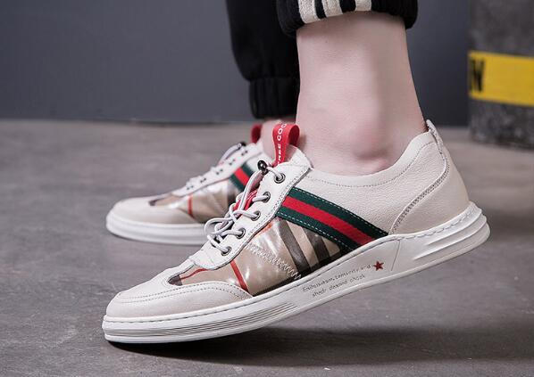 2019 New men's designer shoes Elastic band printed canvas Driving shoes casual shoes US 6.5-9 870