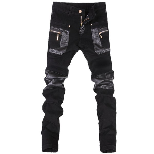 fashion Mens punk pants Korean style cool with leather zippers Black color Tight skenny Plus size 33 34 36 Rock trousers