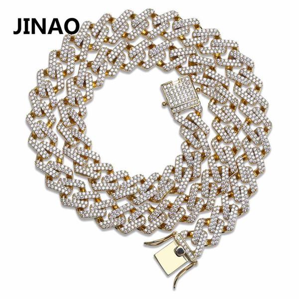 Joyas Jinao Hip Hop Cadena Cubana Helado Fuera Cadena Bling Collar de Circonio Cúbico Micro Pave Enlace Collar Llamativo Cadena Dos Cierres T190626