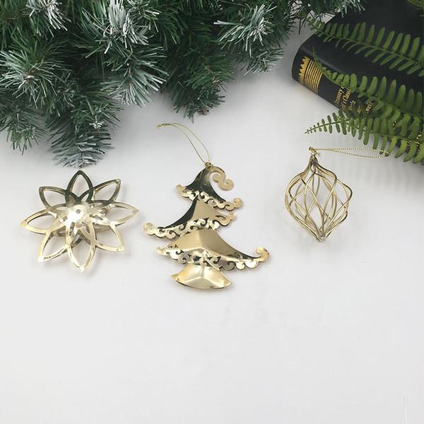 Albero di Natale in metallo ornamenti in metallo del fiocco di neve stella a cinque punte calza nuovo pendente Hanging