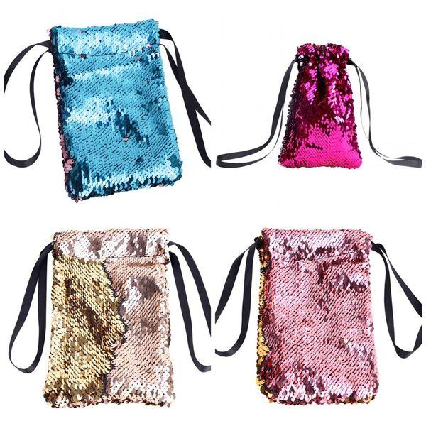 Women Handbag Key Mobile Phone Sequins Bag Sport Men Running Wrap Elastic Cord Bardian 20x13cm Colorful Blue Pink 5js C1