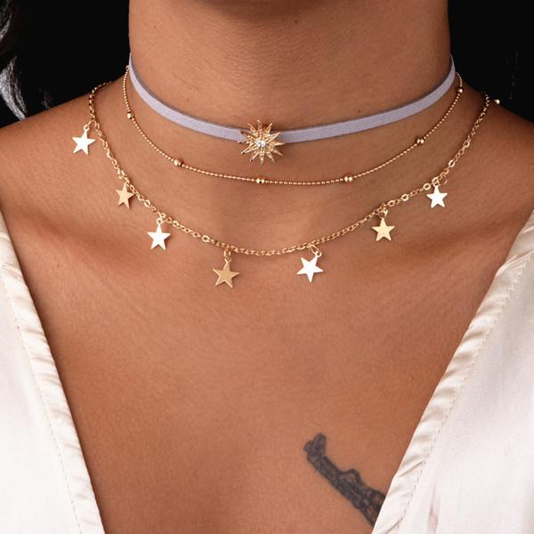 2019 Corea del Sur Nueva joyería de moda Collar de mujer Aleación de oro Cuerda de cuero Estrella de cinco puntas Sol Accesorios de múltiples capas