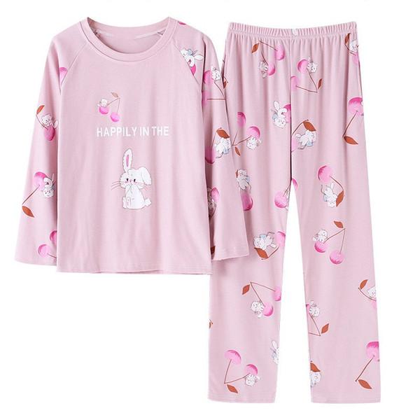 Herbst Baumwolle Weibliche Pyjamas Cartoon Katzendruck Frauen Nachtwäsche Tier Langarm Zweiteilige Homewear Casual Oansatz Pyjamas