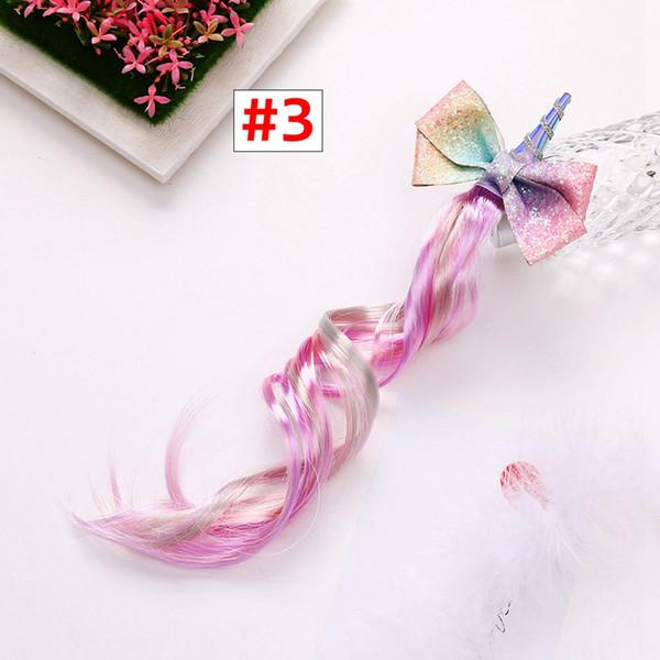 Mädchen Glitter Haarspangen mit Perücke Kinder Einhorn Haarspangen Hairbow Lange Perücke Baby Schöne Hairgrip Haarschmuck
