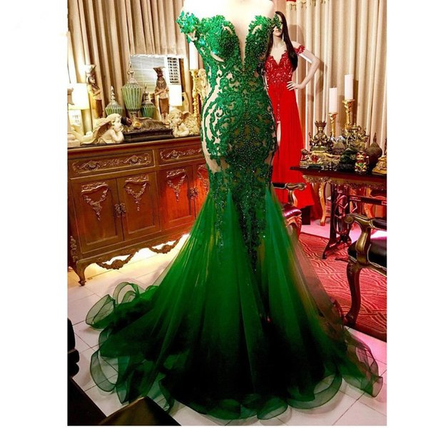 Emerald Green Beaded Long Mermaid Prom Dresses 2019 Saudi Arabic Lace Prom Gowns Sexy Sheer Back Formal Dress