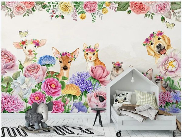 WDBH papel tapiz 3d foto personalizada Dibujado a mano floral rosa flor animal fondo decoración del hogar sala de estar 3d murales de pared papel tapiz para paredes 3 d