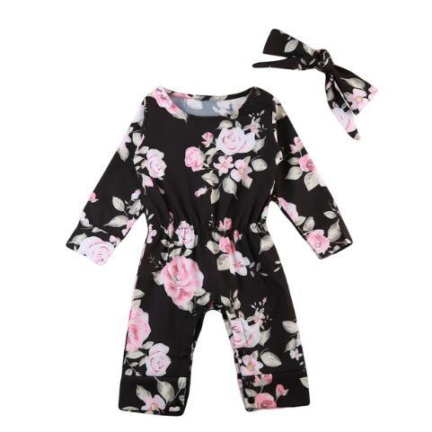Lovely Flower Toddler Baby Girls Romper Long Sleeve Black Print Jumpsuit Headband 2019 Baby Winter Outfits Clothes