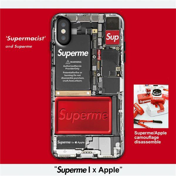 Yeni trend sup apple x cep telefonu kabuk iphone xr apple xs max net kırmızı 8 artı cam malzeme