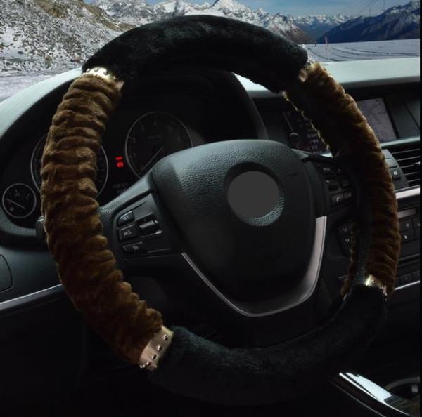 Wholesale RF1413 High Prevention Rabbit Fluff Vehicle Steering Wheel Set New Winter Set Interior Supplies