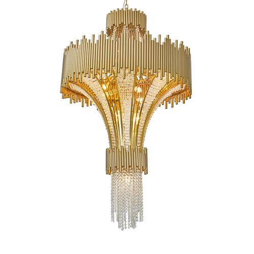 New design postmodern alien spaceship hotel lobby villa crystal large chandeliers lamps french gold stainless steel rotating stair lights