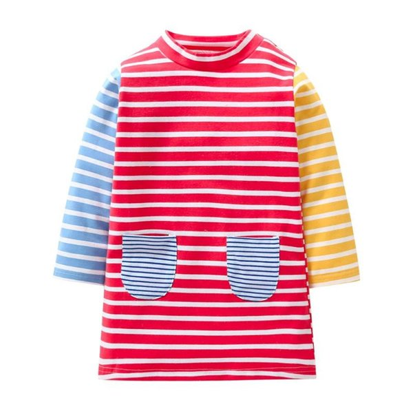 Cute Kids Girls Clothes Long Sleeve Multicolor Stripe Dress Children Outfits Girls Princess Dress Spring Autumn Winter Christmas