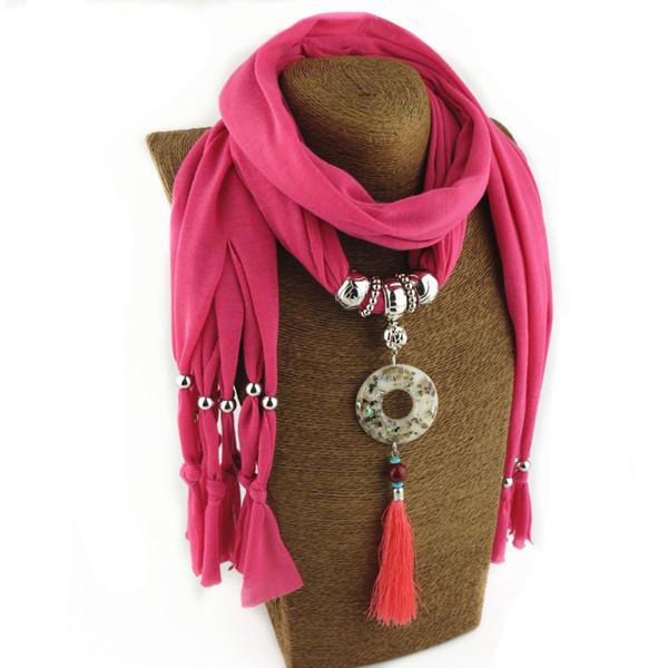 Pure color fashion tassel circle pendant headscarf headscarf jewelry necklace pendant